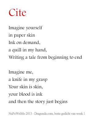 """Mijn gedicht """"Cite"""" voor NaPoWriMo"""